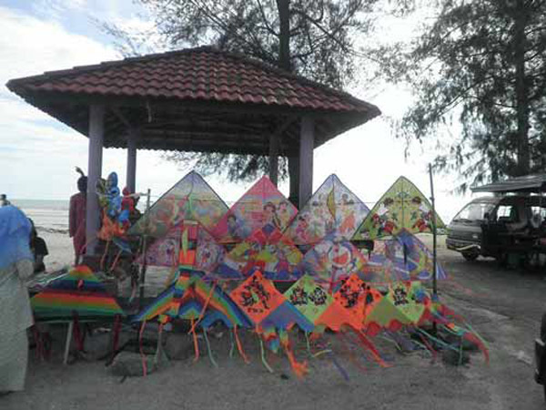 Stall Of Selling Kites at Pantai Remis