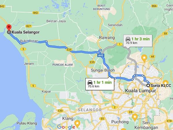 Map of getting to Kuala Selangor